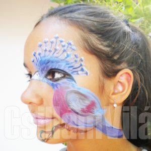 Paradicsommadár-arcfestés